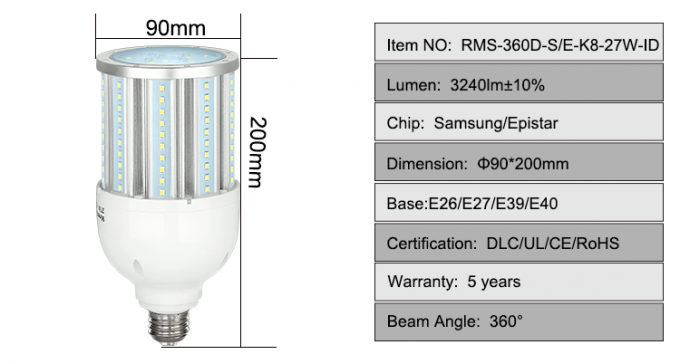 High Lumen 27w Led Corn Lamp With Samsung / Epistar Led Chip AC100V-277V