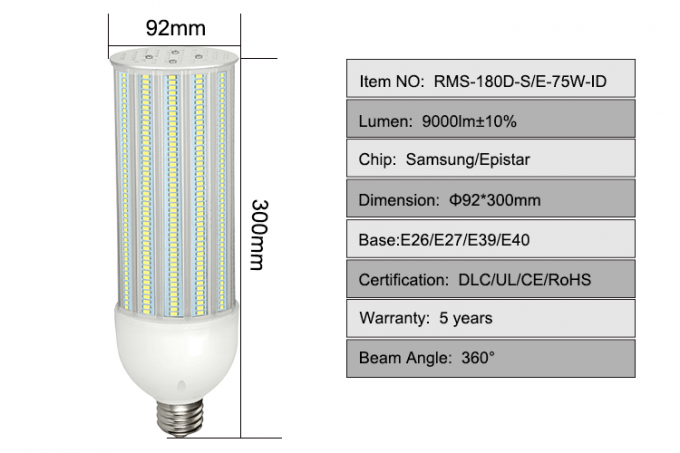 75w Outdoor Led Street Light Bulbs , 180 Degree Corn Bulb E27 E39