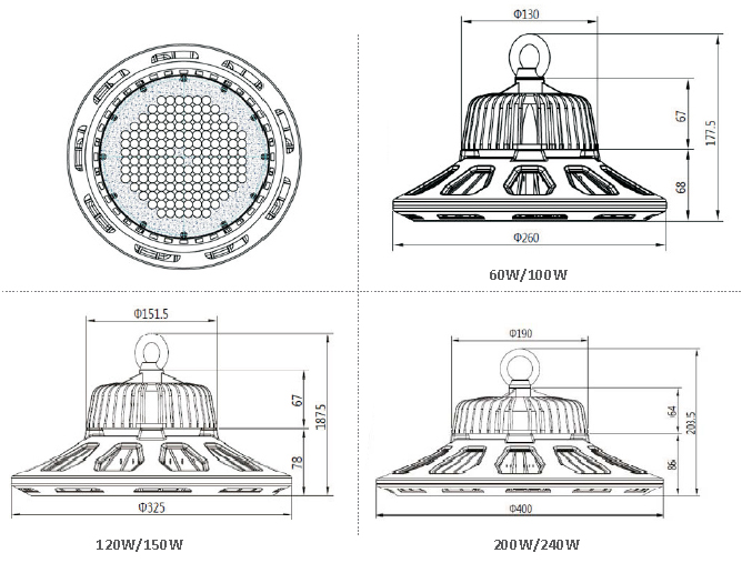 UFO Industrial High Bay Lights 130lm/W , Led High Bay Fixtures Die - Casting Aluminum Material