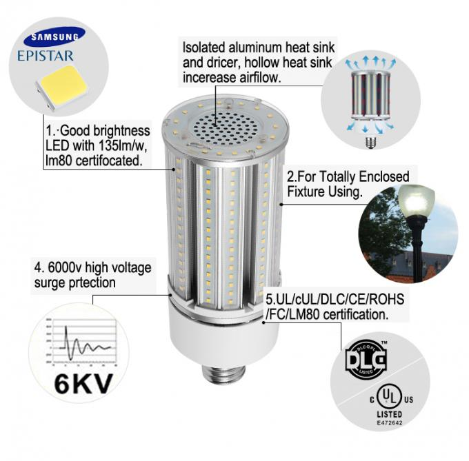 5 Years Warranty UL DLC Lilst IP65 Corn Led Lamp Outdoor 54w  7020lm