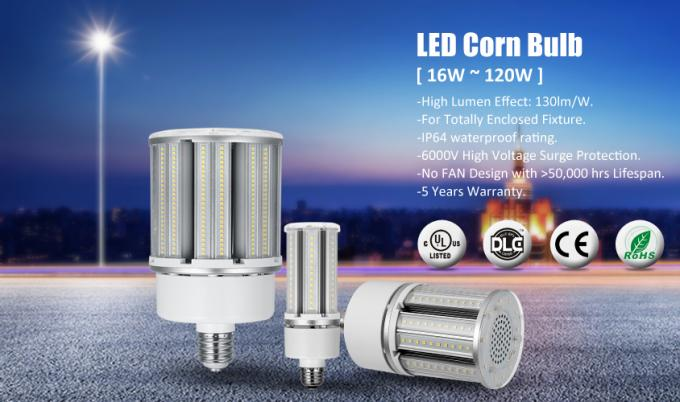 UL Listed AC100-300V 360 Degree E27 LED Corn Bulb With IP65 Waterproof Rating