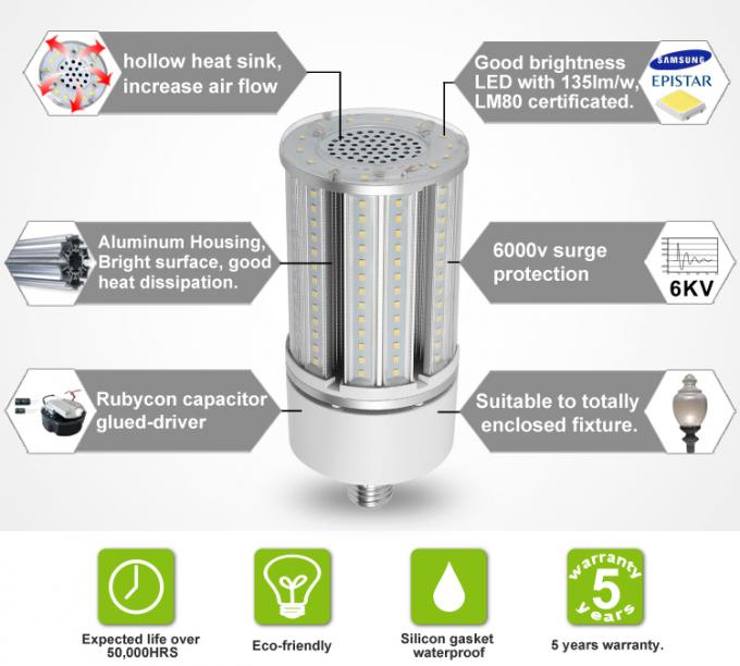 Energy Saving E40 Corn Cob Led Lamps Dustproof With Aluminum Material , 5400lm Efficiency