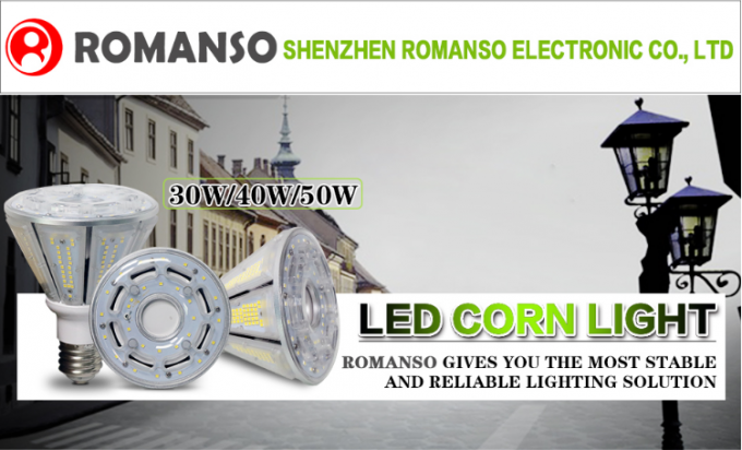 High Brightness E27 E40 DLC Led Corn Light , Pyramid Shaped Led Garden Light 30W