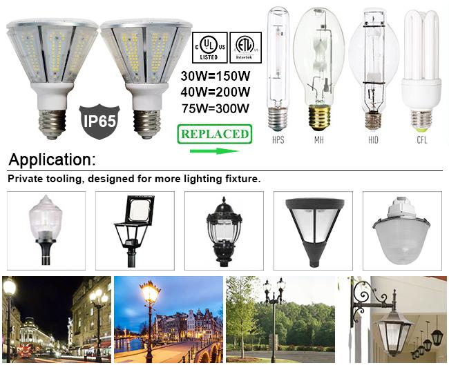 150Lm/W 30W 40W 50W 75W Corn LED Lights Bulb UL CUL DLC Listed For Architectural Lighting