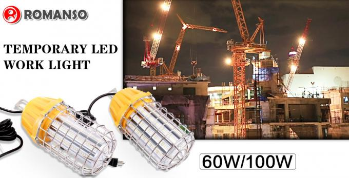 60 Watt LED Temporary Work Lights Replace 200W Compact Fluorescent Lamp , AC100-300V