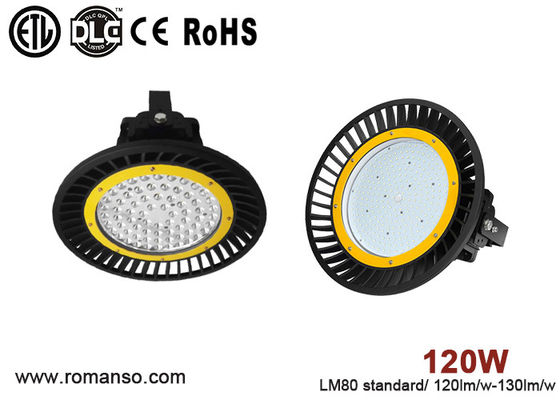 China 130lm / w Efficiency IP65 UFO LED High Bay 120 w Die Casting Aluminum supplier