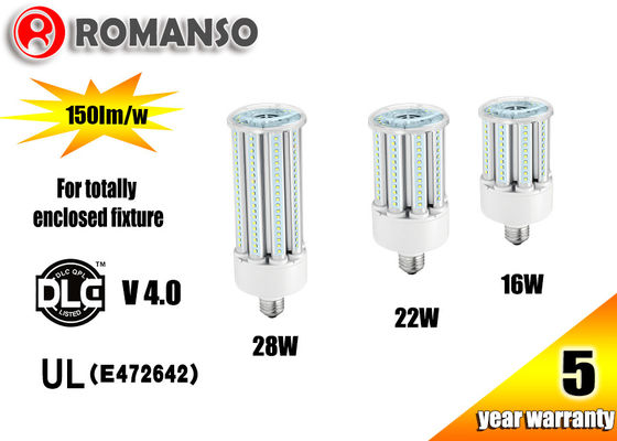China AC100-300V 28W Led Corn Bulb E26 With Ventilation Heat Sink , Aluminum Materials supplier